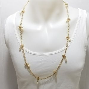 pearls long goldtone necklace by Liz Claiborne